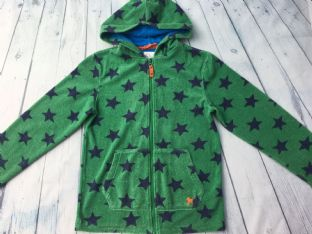 Mini Boden green with blue stars towelling hoodie age 9-10
